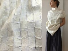 Felted wool, White top, Nuno felt,  Wearable Art,  Felted clothing, wool Top, Designer Blouse, Hand made, Gift for her, Felted sweater by IaArtStudio on Etsy