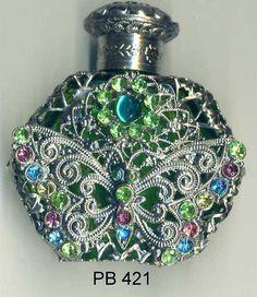 Botella de Perfume de cristal de Bohemia  mariposa de