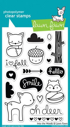 Take a trip into the woods with this cute set of 18 clear stamps! This set contains a smiling acorn, fox, deer, chipmunk, and other stamps to coordinate with the Into the Woods collection. 4 X 6 Clear Stamp Set. Kalender Design, Smile Word, Lawn Fawn Blog, Lawn Fawn Stamps, Into The Woods, Wood Stamp, Paper Craft Supplies, Tampons, Digital Stamps