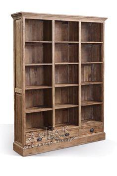 Boekenkast BB 165 x 34 x 210 met 15 open vakken en 3 laden afgewerkt met komgrepen kan in geborsteld en glad teak - Uw landelijke woonwinkel voor teak uit Winsum (Groningen)