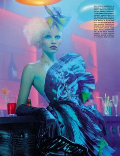 """A Dazzling Party"" Aline Weber by Miles Aldridge for Vogue Italia March 2014"