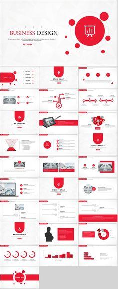 Red Creative business design PowerPoint template on Behance Powerpoint Design Templates, Ppt Design, Creative Powerpoint, Keynote Template, Keynote Design, Design Art, Brochure Design, Book Design, Creative Design