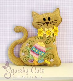 Cat Stuffed Animal Pattern - Felt Plushie Sewing Pattern & Tutorial - Jelly Bean the Easter Cat - Embroidery Pattern PDF. $5.00, via Etsy.