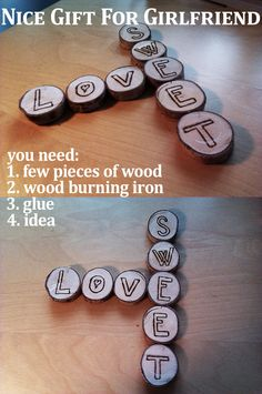 DIY | Nice Gift for Girlfriend | Love&Sweet 1. few pieces of wood (I used birch wood) 2. wood burning iron (to burn the letters or symbols on wood) 3. glue to stick it together 4. you must have an idea (it is really important! ;) ) 5. it is good to have girlfriend (or boyfriend, it does not matter)