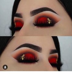 red and black eye makeup , rote und blaue augen make-up red and black eye makeup , Editorial black makeup - Easy black makeup - black makeup Light Eye Makeup Glitter, Red Eye Makeup, Makeup Eye Looks, Colorful Eye Makeup, Black Makeup, Beauty Makeup, Makeup For Big Eyes, Makeup Eyeshadow, Fire Makeup