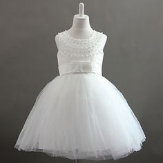 Nice Sleeveless Tulle/Satin  Wedding/Evening Flower Girl Dress With Bows & Pearls – USD $ 49.99