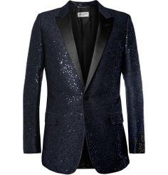 Saint Laurent Sequin-Embellished Wool-Blend Tuxedo Jacket. 88% wool, 9% polyamide, 3% polyester; trim: 100% polyester; lining: 100% silk. 1950