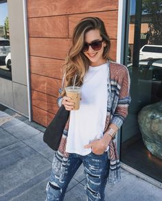 Textured cardi and ripped denim