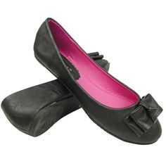 Womens Ballet Flats Layered Flat Bow Easy Slip On black