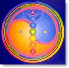 mandala: The chakra system energy map within the field of yin and yang. So beautiful Yin Yang, 7 Chakras, Archangel Azrael, Chakra Balancing, Chakra Healing, Healing Heart, Sacred Art, Sacred Geometry, Creative