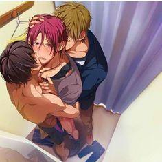 Haru x Rin x Makoto (fainted )