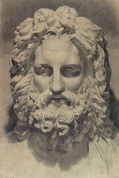 Academic drawing plaster head of Zeus / Академический рисунок гипсовой головы Зевса.