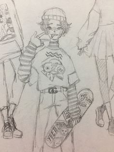 if you're have art block right now feel free to redraw this skater boy! Indie Drawings, Oc Drawings, Girl Drawing Sketches, Art Drawings Sketches Simple, Pencil Art Drawings, Kawaii Drawings, Cartoon Drawings, Cute Drawings, Boy Sketch
