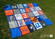 School spirit t-shirt blanket! Perfect for showing your pride as well as having a soft seat to enjoy! #quilt #school