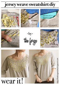 DIY Clothes DIY Refashion DIY Jersey Weave Sweatshirt
