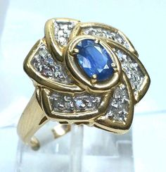 Handmade .60 Carat Sapphire & .25 Carat Diamond 14 Karat Yellow Gold Flower Ring #Handmade #Cocktail