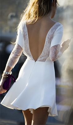 Open back + white lace dress. By Rime Arodaky Style Work, Mode Style, Look Fashion, Fashion Beauty, Spring Fashion, Fashion Styles, Dress Fashion, Runway Fashion, Trendy Fashion