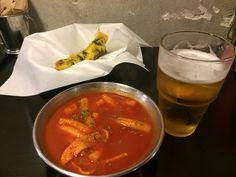 Topokki & fries & beer in yong I love it!