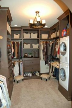 image of master closet with laundry | Walk-In Closet with Washer and Dryer