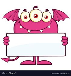 Royalty free clipart illustration of a pink bat winged, fork tailed monster holding a blank sign. Monster clip by Hit Toon. Cartoon Monsters, Monsters Inc, Cartoon Characters, Monster Theme Classroom, Monster Clipart, Monster Coloring Pages, Bubble Pictures, Material Didático, Blank Sign