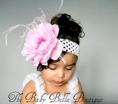 Baby Girl white crochet headband Big pink by TheBabyBellaBoutique, $13.95