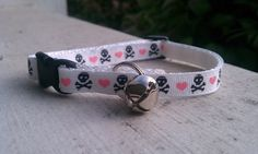 Skulls and Hearts- Breakaway Adjustable Cat Collar. $8.25, via Etsy.