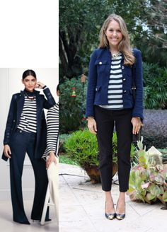 """Inspiration: Limited  A wide stripe blouse, navy boucle jacket and slim black trousers: I'm  loving this combination.I may be just a bit rebellious for wearing navy  and black together (a """"rule"""" I'm happy to break), but the majority of this  outfit is classic and preppy, witha hint of nautical. I lovehavinga new  outfit idea for some of my favorite pieces in my closet, andfeel free to  use this idea in yourcloset, too!  Jacket: Zara, $90 (similar, similar) Top: Francesca's c/o, ..."""