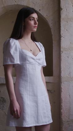 White Linen Dress - Excess Only White Linen Skirt, White Linen Dresses, Chic Dress, Classy Dress, White Dress Summer, Summer Dresses, Short Dresses, Slim Fit Skirts, Party Wear Indian Dresses