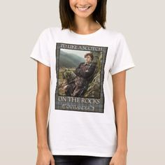 The # one cure for Droughtlander is soothing oneself with Outlander and Jamie Fraser presents. Get this 'I'd Like a Scotch on the Rocks - Outlander T-Shirt' on sale now! Rock Shirts, Tee Shirts, Tees, Outlander T Shirts, Outlander Tv, Rock Style Men, Stylish Shirts, Presents For Mom, The Rock