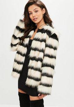 Missguided Cream Striped Faux Fur Coat
