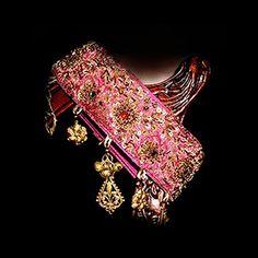 Bedouin inspired, silk, bullion and brass Sighthound Collar...designed by me :)  www.poshpawz.com