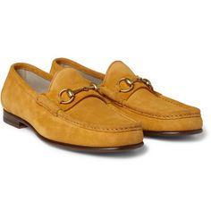 Summer classic - Gucci horsebit loafer in saffron yellow suede.  60th anniversary - 1953 collection.