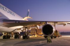 Cathay Pacific Cargo Boeing 747 freighter loading cargo at Rickenbacker International Airport