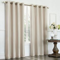 kohls, also burgundy, off white, or brown Venetian Faux-Silk Room Darkening Window Panel Cream Curtains, Grommet Curtains, Drapes Curtains, Modern Curtains, Valances, Patio Door Curtains, Patio Doors, Outdoor Curtains, Blackout Panels