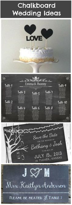 Ideas on how to use chalkboards at your wedding.