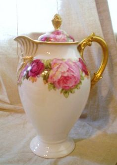 SOLD Limoges Chocolate /Coffee Pot - circa 1897-1900. Roses and Gold!