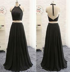 Long Prom Dress, Black Chiffon Long Prom Dress, Applique Prom Dress, Halter Prom Dress, Simple Prom Dress, Two Pieces Prom Dress, Evening Dr