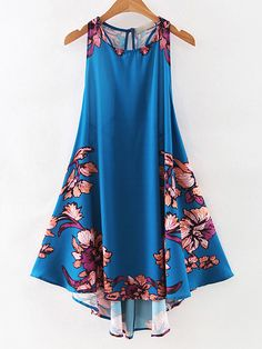 ¡Cómpralo ya!. Royal Blue Printed Cutout Lace Up Vintage Dress. Blue Vintage Polyester Round Neck Sleeveless Short Floral Summer Sun Dresses. , vestidoinformal, casual, informales, informal, day, kleidcasual, vestidoinformal, robeinformelle, vestitoinformale, día. Vestido informal  de mujer color azul marino de SheIn.