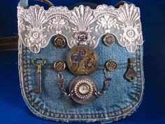 Steampunk Inspired Denim Purse by BastanchuryStudio on Etsy, $55.00