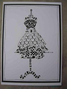 Sweet Poppy Stencil Dress - Zentangle design. www.aldridgecrafts.co.uk