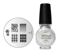 """Konad Nail Art Manicure Stamping Kit Image Plate M60 """"Argyle Pattern"""" + Special Nail Polish 11ml """"Silver"""" + A-Viva Nail Buffer by Mica Beauty. $15.99. Konad Stamping Nail Art is a new and innovative nail-imprinting kit that allows you to stamp beautiful pre-designed images on your nails in minutes! Our kits do not hold back on quality, it delivers beautiful delicate images that hand painting cannot achieve. Not only are the kits cost effective and time saving,..."""
