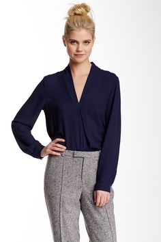 Long Sleeve V-Neck Blouse by Ro & De on @nordstrom_rack