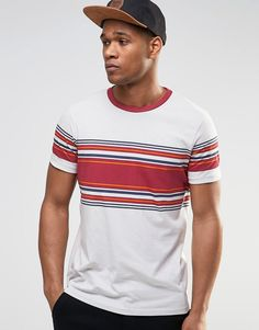Image 1 ofASOS T-Shirt With Contrast Ringer And Retro Stripe