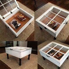 turn old reclaimed window frame into storage coffee table, or side table depending on window size
