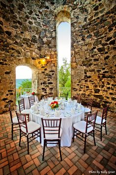 The Sugar Mill set for a private wedding dinner at The Buccaneer hotel in St. Croix.