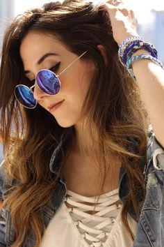 denim + mirrored sunglasses