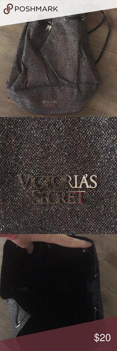 NWOT Victoria's Secret Drawstring Backpack Charcoal/Black Glitter Victoria's Secret Drawstring Backpack New Without Tags Victoria's Secret Bags Backpacks