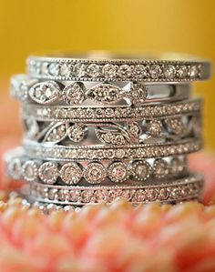 Beautiful!! Decisions, decisions ... Antique Eternity Diamond Ring Stack ♥ L.O.V.E.