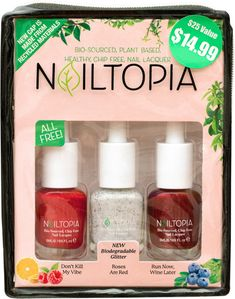 Nailtopia Roses Are Red Holiday Kit Dont Kill My Vibe, Healthy Nails, Biodegradable Products, Red Roses, Plant Based, Kit, Nail Polishes, Bottle, Holiday