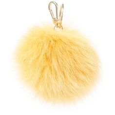 Furla Women's Bubble Fur Pom Keychain - Gold ($148) ❤ liked on Polyvore featuring accessories, gold, furla, fur key ring, ring key chain, pom pom key chain and pom pom key rings